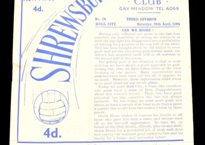 Shrewsbury Town v Hull 25.04.1964