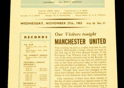 Tottenham Hotspur v Manchester United 27.11.1963 Postponed to 03.12.1963