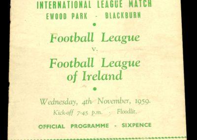 English v Eire League 04.11.1959 | International League Match