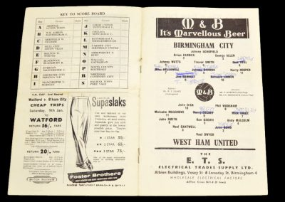 Birmingham City v West Ham United 26.12.1959