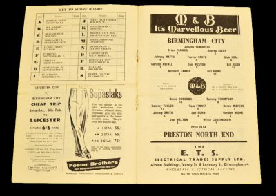 Birmingham City v Preston North End 23.01.1960