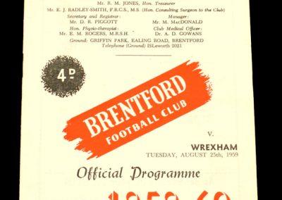 Wrexham v Brentford 25.08.1959
