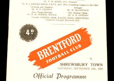 Shrewsbury Town v Brentford 12.09.1959