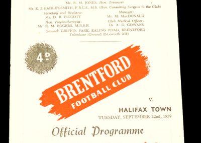 Brentford v Halifax Town 22.09.1959