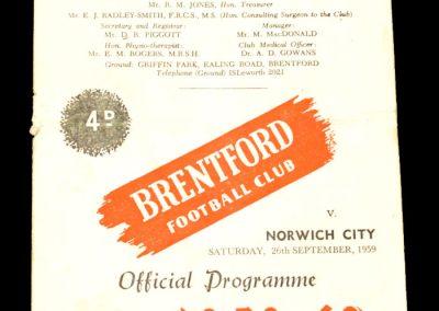 Norwich City v Brentford 26.09.1959
