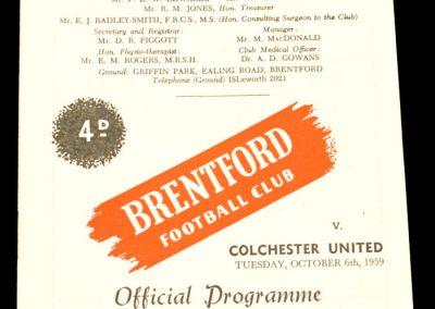 Colchester United v Brentford 06.10.1959