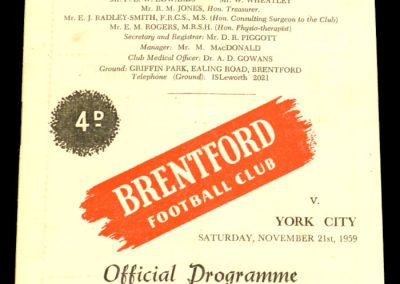 York City v Brentford 21.11.1959