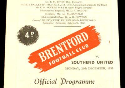 Southend United v Brentford 28.12.1959