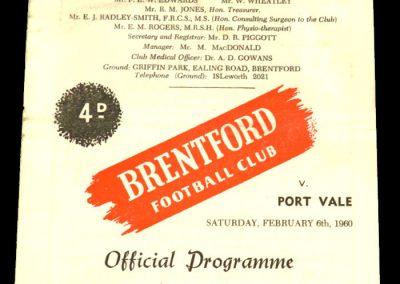 Port Vale v Brentford 06.02.1960