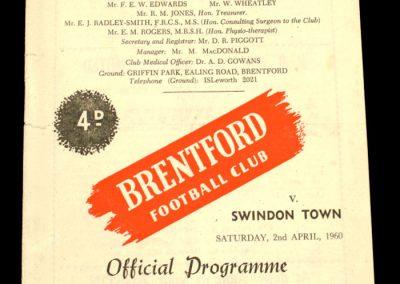 Swindon Town v Brentford 02.04.1960