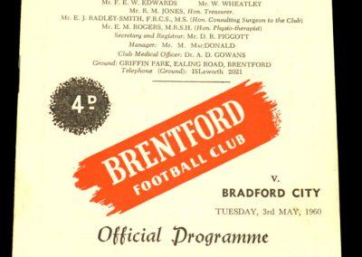 Bradford City v Brentford 03.05.1960