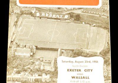 Exeter City v Walsall 23.08.1958