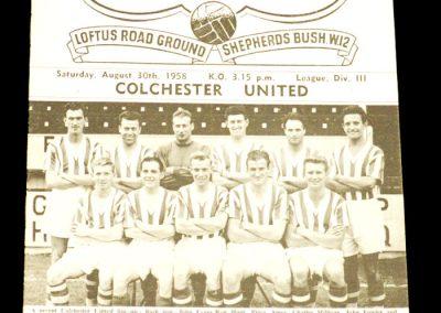 Queens Park Rangers v Colchester 30.08.1958