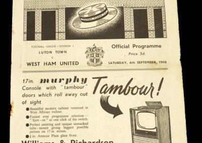 Luton Town v West Ham United 06.09.1958