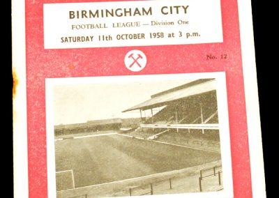 West Ham United v Birmingham City 11.10.1958