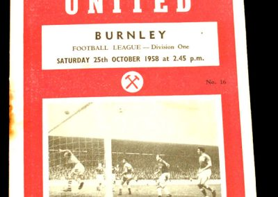 West Ham United v Burnley 25.10.1958