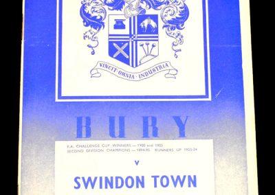 Bury v Swindon 22.11.1958