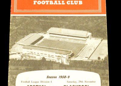 Arsenal v Blackbool 29.11.1958