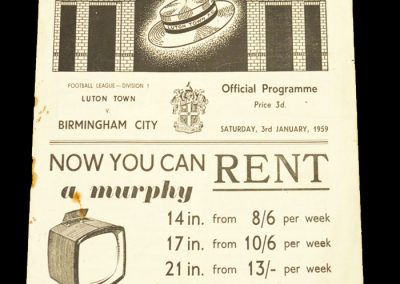 Luton Town v Birmingham 03.01.1959