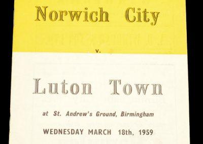 Norwich City v Luton Town 18.03.1959 | FA Cup Semi-final Replay