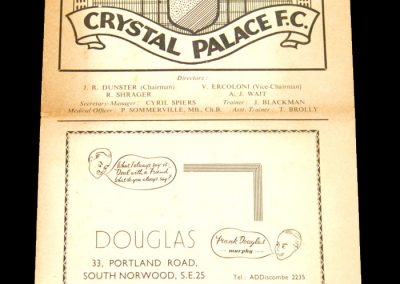 Crystal Palace v Colchester 22.08.1956