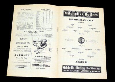 Birmingham City v Arsenal 25.08.1956