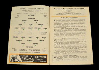 Wolverhampton Wanderers v Bolton Wanderers 31.08.1960