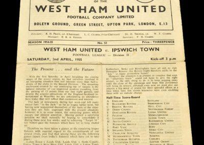 West Ham United v Ipswich Town 02.04.1955
