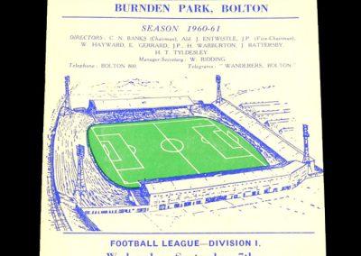 Bolton Wanderers v Tottenham hotspur 07.09.1960
