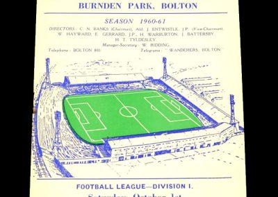 Bolton Wanderers v Manchester United 01.10.1960