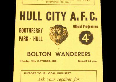 Hull City v Bolton Wanderers 10.10.1960