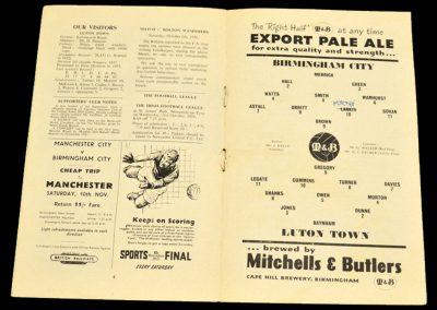 Birmingham City v Luton Town 20.10.1956