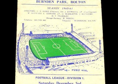 Bolton Wanderers v Newcastle United 03.12.1960