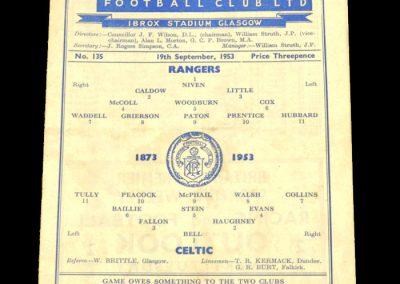 Rangers v Celtic 19.09.1953