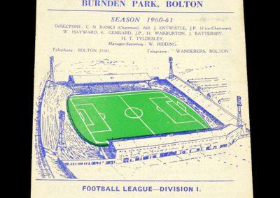 Bolton Wanderers v Blackpool 21.01.1961