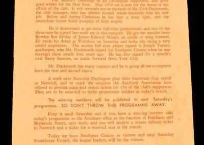 Stockport County v Darlington FC 26.12.1957