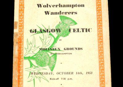 Wolverhampton Wanderers v Glasgow Celtic 14.10.1953