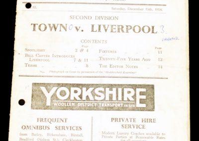 Huddersfield Town v Liverpool 15.12.1956