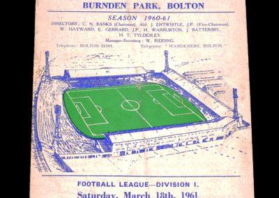 Bolton Wanderers v Sheffield Wednesday 18.03.1961