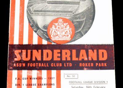 Sunderland v Sheffield Wednesday 16.02.1957