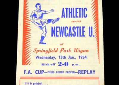 Wigan Athletic v Newcastle United 13.01.1954   FA Cup 3rd Round