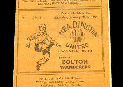 Headington (Oxford) v Bolton 30.01.1954   FA Cup 4th Round