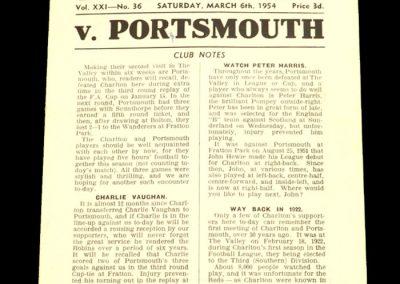 Charlton Athletic v Portsmouth 06.03.1954