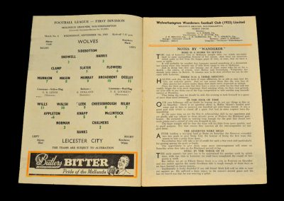 Wolverhampton Wanderers v Leicester City 07.09.1960