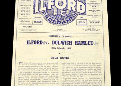 Ilford v Dulwich 20.03.1954