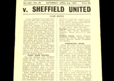 Charlton Athletic v Sheffield United 03.04.1954