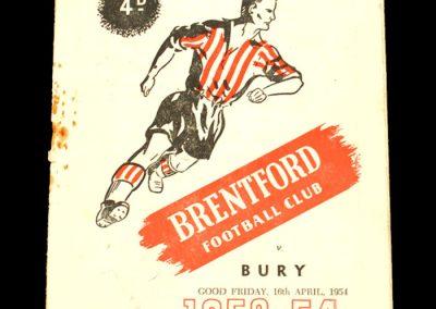 Brentford FC v Bury 16.04.1954