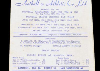 Bolton Wanderers v Wolverhampton Wanderers 22.09.1956