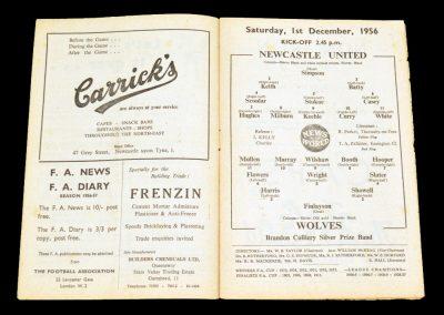 Newcastle United v Wolverhampton Wanderers 01.12.1956