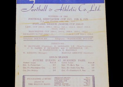 Bolton Wanderers v Manchester United 12.09.1953